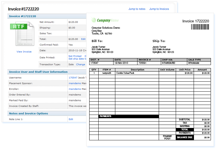 Itemized Bill, Meet Greystar Pertaining To Order Invoices Online